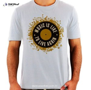 Camiseta Vinil - Music is Like to Live Again