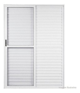 Porta Balcão de Alumínio branco com 03 folhas
