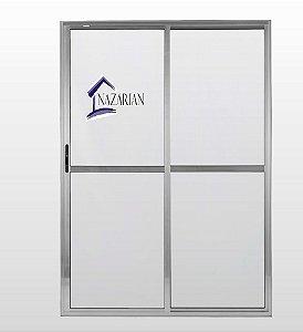 Porta sacada Aluminio Brilhante 02 folhas Com fechadura