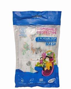 Máscara descartável proteção tripla infantil com 10 unidades