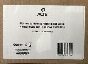 CAIXA DE MASCARA TNT DUPLA COM CLIPE COM 50 UNIDADE ACTE