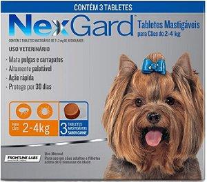 Antipulgas e Carrapatos NexGard para Cães de 2 a 4 Kg Com 3 Tabletes