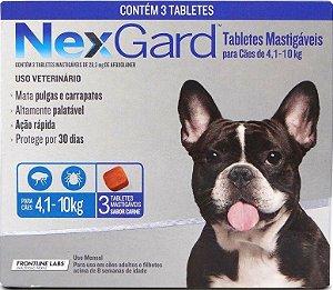 Antipulgas e Carrapatos NexGard para Cães de 4,1 a 10 Kg Com 3 Tabletes
