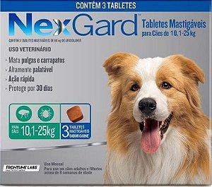 Antipulgas e Carrapatos NexGard para Cães de 10,1 a 25 Kg Com 3 Tabletes