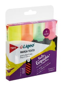 Caneta Marca Texto Tris Liqeo Flat Neon 04 Cores
