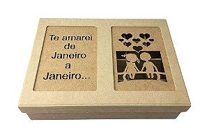 """Caixa MDF """"Te Amarei De Jan"""" Laser Tampa Solta 13 Div 23x31"""