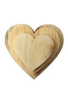 Trio Coração Pinus 11/15/18 cm