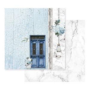 Papel Para Scrap - Apreciar a Jornada - Porta Azul - Decore Crafts