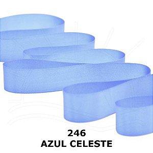 Fita de Cetim Rolo Com 50m x 10mm Cor Azul Celeste 246 CF002