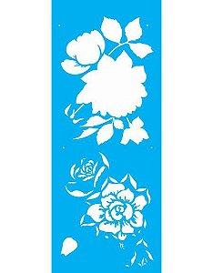 Stencil 17x42 Flor Rosas - OPA 2177
