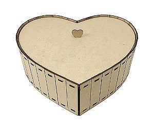 Caixa Coração Ripado M 25 x 24 x 8 cm Em MDF Namorados Amor
