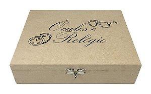 Caixa Porta Relógio e Óculos Laser Articulada Com Fecho MDF