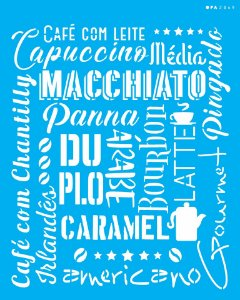 Stencil 20x25 Culinária Estamparia Café - OPA 2849