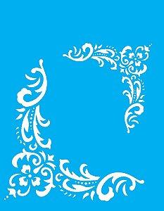 Stencil 20x25 Cantoneira Flor Folhas - OPA 1324