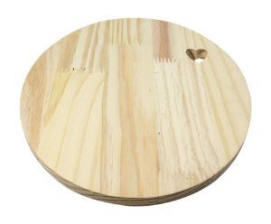 Tábua Pinus Redonda Lisa Coração 28 cm Nº20