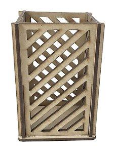 Porta Lápis Vazado MDF 7x7x10 cm