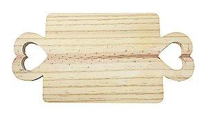 Tábua Pinus 2 Corações Com Alça Para Mesa Posta 36x18
