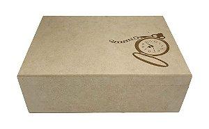 Caixa Porta Relógio 6 Div Gravada Articulada Com Fecho MDF