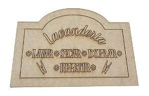 Aplique Laser MDF -  Placa Lavanderia 20x28 cm