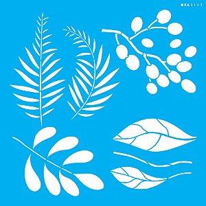 Stencil 30,5X30,5 – Orgânico Folhas Diversas - OPA 3143