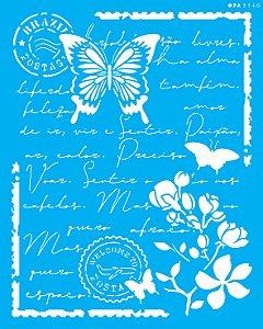 Stencil 20x25 Carta Antiga Borboleta - OPA 3140