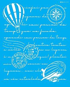 Stencil 20x25 Carta Antiga Balão - OPA 3139