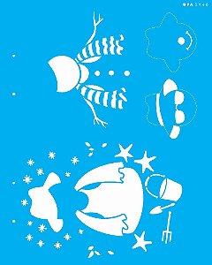 Stencil 20x25 Boneco de Neve Verão - OPA 3148