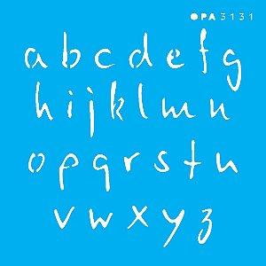 Stencil 10X10  - Alfabeto Micro Minúsculo 1,5 cm OPA3131
