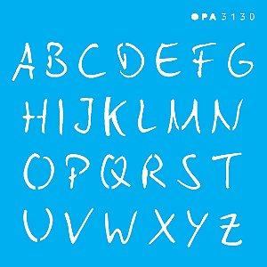 Stencil 10X10  - Alfabeto Micro Maiúsculo 1,5 cm OPA3130
