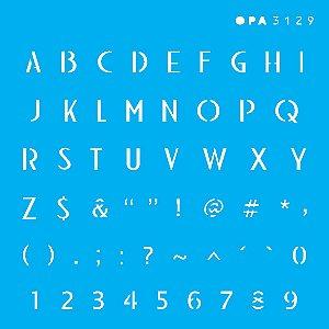 Stencil 10X10  - Alfabeto Micro Maiúsculo 0,6 cm OPA3129