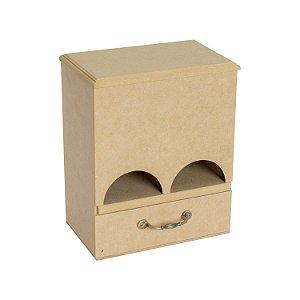 Caixa Porta Chá MDF Com Gaveta e Alça Metal 2 Compartimentos