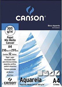 Bloco Fila Canson Educação Artística Aquarela A4 12 Folhas