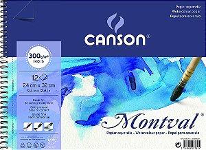Bloco Espiral Canson Montval Fina Aquarela 24x32 300g 12 Flh