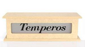 Porta Tempero Com 4 Cavidades E Vidro Jateado