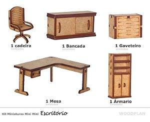 Kit Miniatura Escritório 5 Peças Mesa Cadeira Armário Mdf