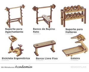 Kit Miniatura Academia 6 Peças Supino Halteres Esteira Mdf
