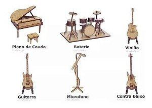 Kit 6 Miniatura Instrumentos Musicais Piano Guitarra Mdf