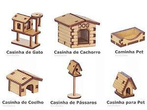Kit 6 Miniatura Casinha Pet Cachorro Gato Coelho Pássaro Mdf