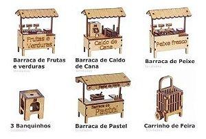 Kit 8 Miniatura Feira Barraca Barraquinha Banquinho Mdf