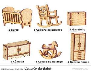 Kit Miniatura Quarto Bebê 6 Peças Berço Cadeira Balanço Mdf