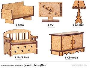 Kit Miniatura Sala Com 5 Peças Sofá Abajur Tv Comoda Baú Mdf