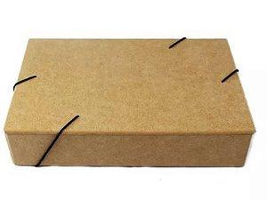 Caixa Pasta Com Elástico P De Mdf Documentos - 26x16x5 Cm