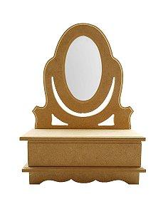Mini Penteadeira Cômoda Com Gaveta E Espelho Mdf Porta Jóias