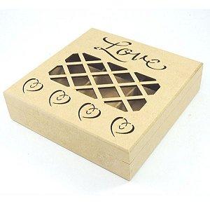Caixa Presente Love Mdf Dobradiça Namorados - 9 Divisórias