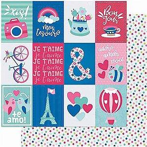 Papel Para Scrapbook Dupla Face 30,5 cm x 30,5 cm – Amor JE T´Aime Tags-Verso Estampa Poá SD-1004