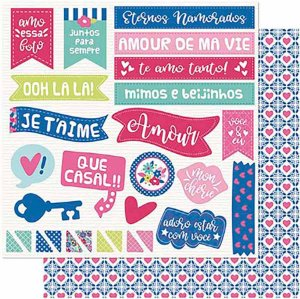 Papel Para Scrapbook Dupla Face 30,5 cm x 30,5 cm – Amor Je T´Aime Tags Frases-Verso Estampa SD-1003