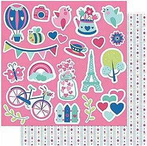 Papel Para Scrapbook Dupla Face 30,5 cm x 30,5 cm – Amor JE T´Aime Apliques-Verso Estampa SD-1002