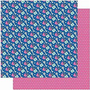 Papel Para Scrapbook Dupla Face 30,5 cm x 30,5 cm – Amor JE T´Amor Cadeados Chaves SD-1001