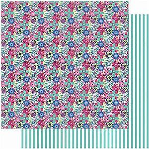 Papel Para Scrapbook Dupla Face 30,5 cm x 30,5 cm – AMOR JE T´Aime Estampa Flores SD-1000