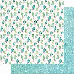 Papel Para Scrapbook Dupla Face 30,5 cm x 30,5 cm – Cactos/Folhagem Fundo Verde SD-994